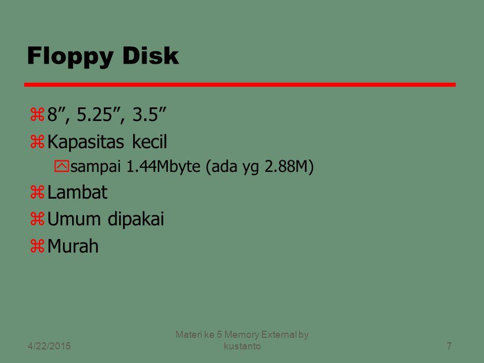 6 Removable / Nonremovable zRemovable disk yDapat dilepas dari drive dan diganti dg disk lain yMemberikan kapasitas simpanan yg tak terbatas yMudah melakukan transfer data antar sistem zNonremovable disk yTerpasanang permanen dalam drive External Memory 4/22/2015 Materi ke 5 Memory External by kustanto