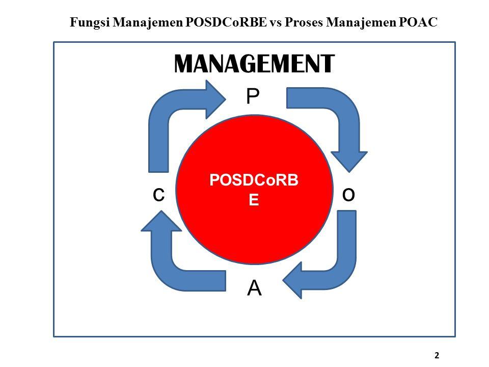 POSDCoRB E Fungsi Manajemen POSDCoRBE vs Proses Manajemen POAC MANAGEMENT P c o A 2