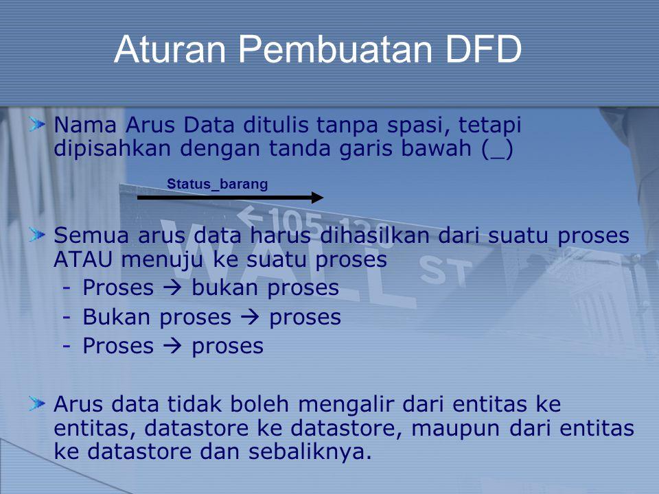 Aturan Pembuatan DFD Nama Arus Data ditulis tanpa spasi, tetapi dipisahkan dengan tanda garis bawah (_) Semua arus data harus dihasilkan dari suatu pr