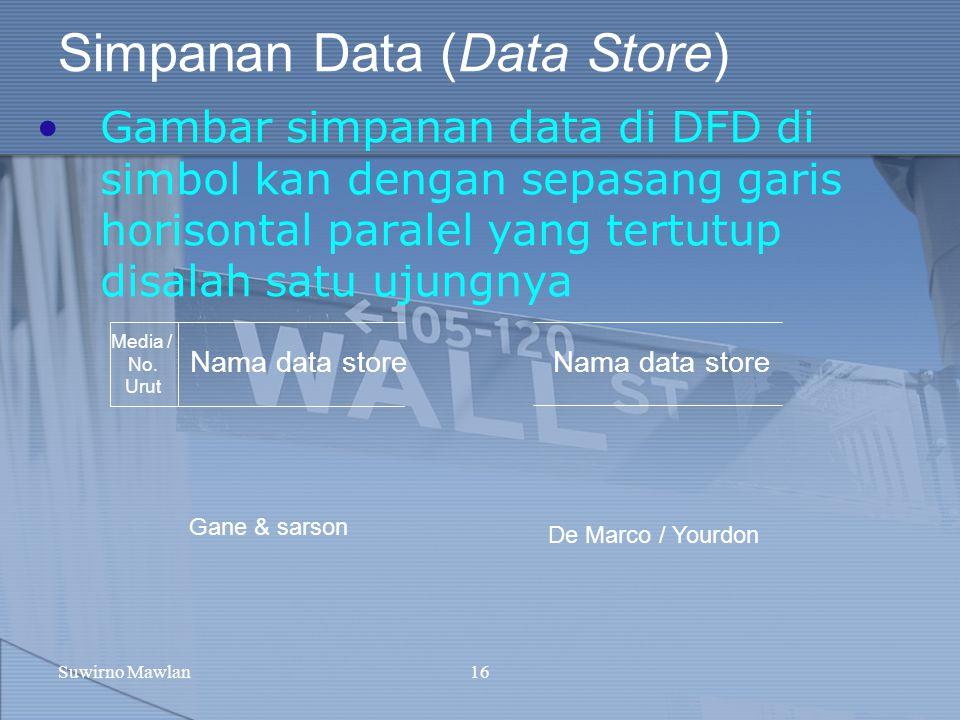 Suwirno Mawlan16 Simpanan Data (Data Store) Gambar simpanan data di DFD di simbol kan dengan sepasang garis horisontal paralel yang tertutup disalah s