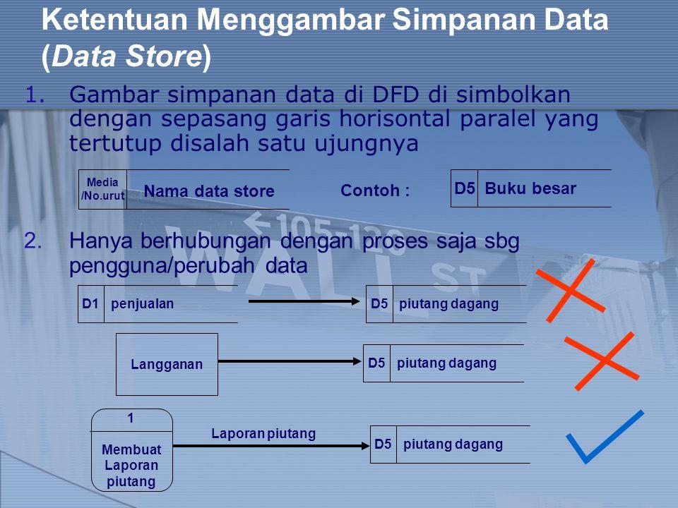 Ketentuan Menggambar Simpanan Data (Data Store) 1.Gambar simpanan data di DFD di simbolkan dengan sepasang garis horisontal paralel yang tertutup disa