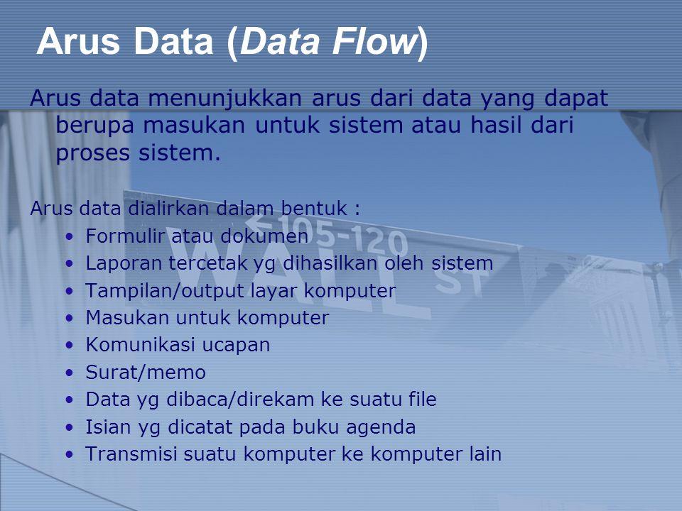 Arus Data (Data Flow) Arus data menunjukkan arus dari data yang dapat berupa masukan untuk sistem atau hasil dari proses sistem. Arus data dialirkan d