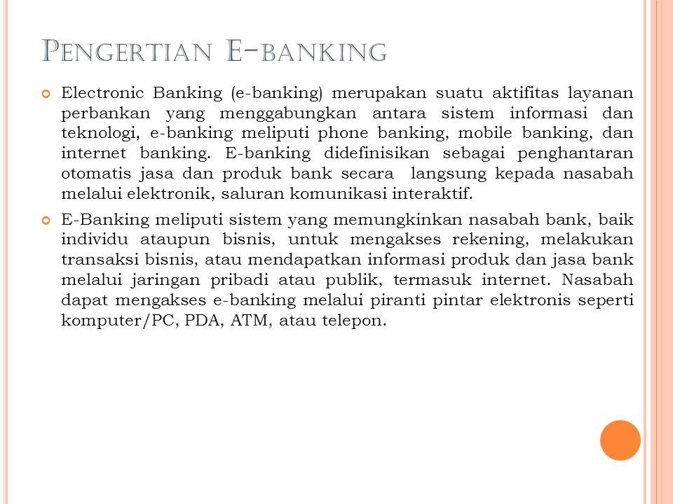 Sejarah E-banking Masalah cyber crime dalam dunia perbankan kini kembali menjadi pusat perhatian. Sebab muncul pola-pola baru dari cyber crime perbank