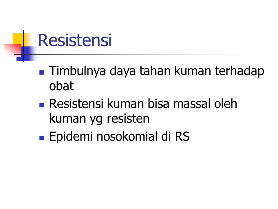 Faktor resistensi Pengobatan yg terlambat Dosis terlalu rendah Kuman adaptasi d/ obat Pemberian A.B tidak tepat sasaran Keadaan fisik penderita t/ mendukung terbentuknya kuman d/ cepat