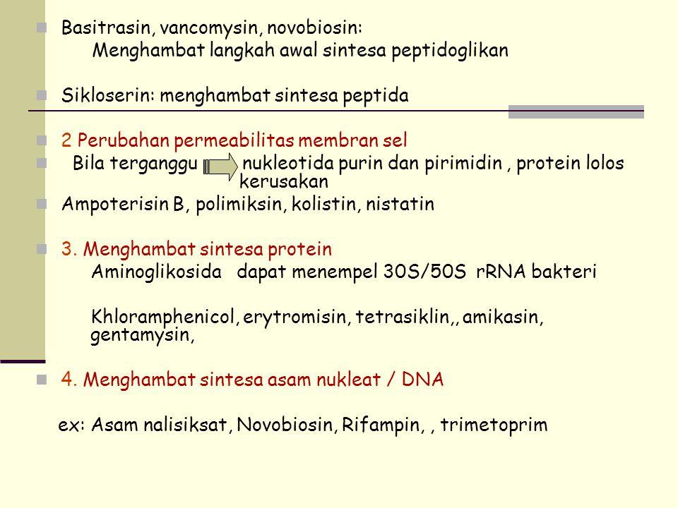 Basitrasin, vancomysin, novobiosin: Menghambat langkah awal sintesa peptidoglikan Sikloserin: menghambat sintesa peptida 2 Perubahan permeabilitas mem