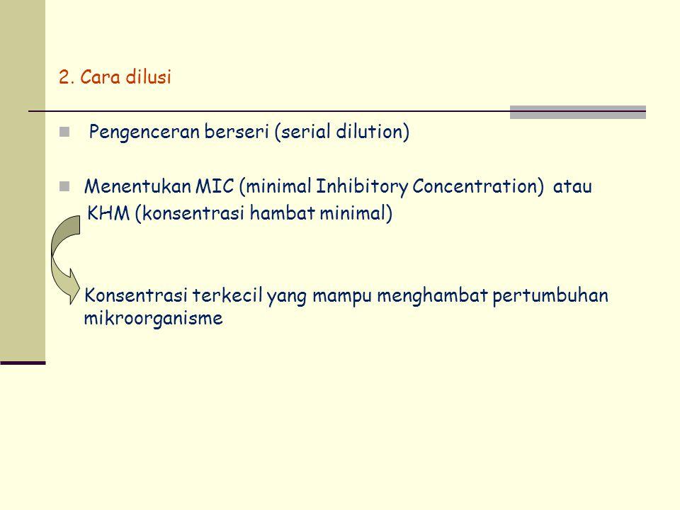 2. Cara dilusi Pengenceran berseri (serial dilution) Menentukan MIC (minimal Inhibitory Concentration) atau KHM (konsentrasi hambat minimal) Konsentra