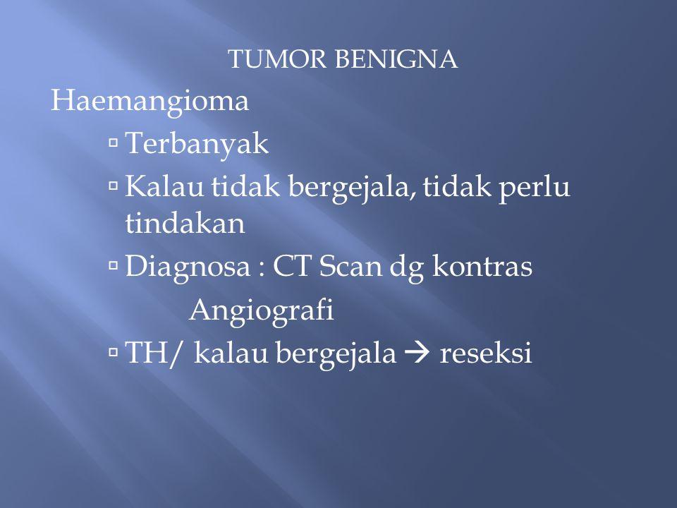 TUMOR BENIGNA Haemangioma  Terbanyak  Kalau tidak bergejala, tidak perlu tindakan  Diagnosa : CT Scan dg kontras Angiografi  TH/ kalau bergejala  reseksi
