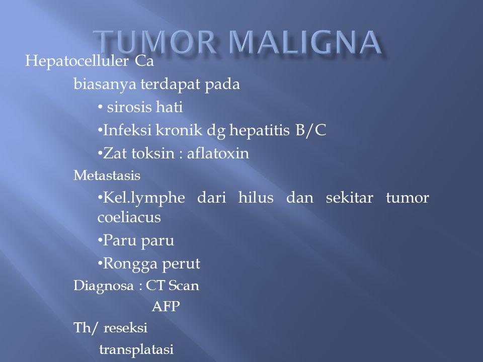 Hepatocelluler Ca biasanya terdapat pada sirosis hati Infeksi kronik dg hepatitis B/C Zat toksin : aflatoxin Metastasis Kel.lymphe dari hilus dan sekitar tumor coeliacus Paru paru Rongga perut Diagnosa : CT Scan AFP Th/ reseksi transplatasi