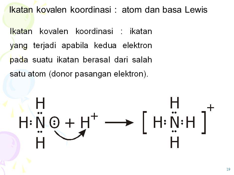 19 Ikatan kovalen koordinasi : atom dan basa Lewis
