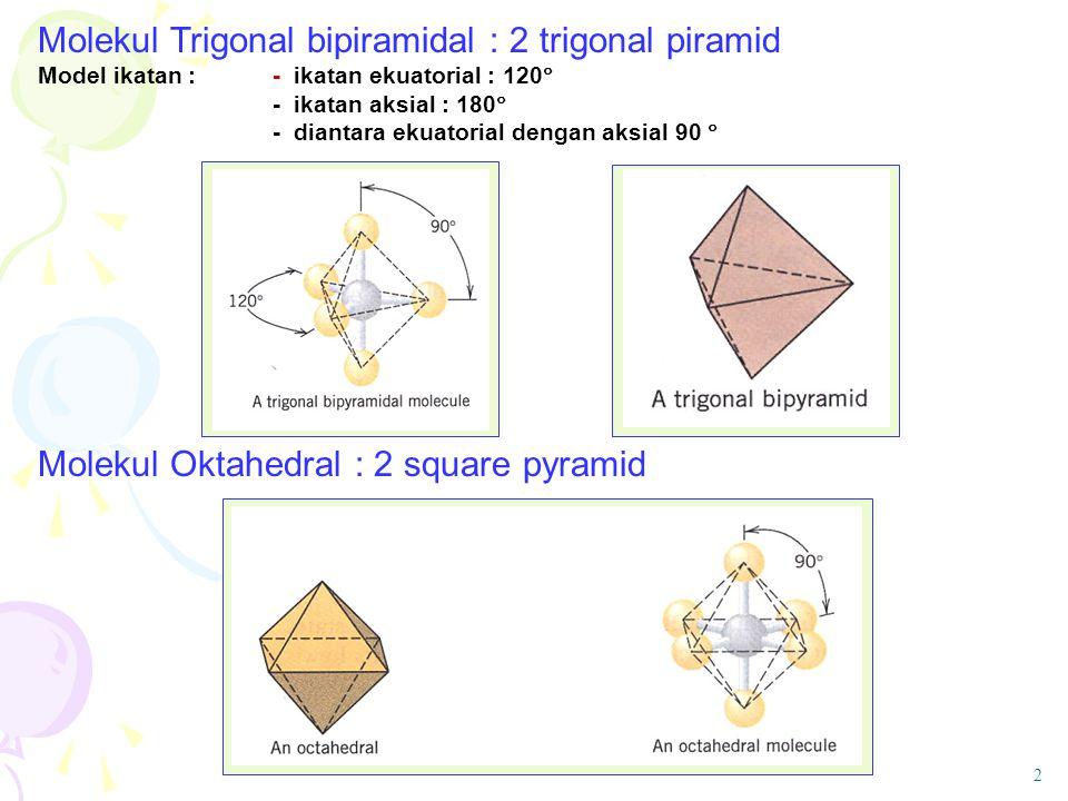 Molekul Oktahedral : 2 square pyramid Molekul Trigonal bipiramidal : 2 trigonal piramid Model ikatan : - ikatan ekuatorial : 120  -ikatan aksial : 18