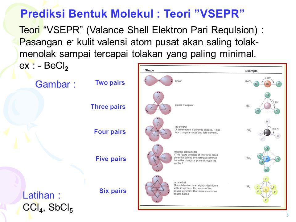 "Prediksi Bentuk Molekul : Teori ""VSEPR"" Teori ""VSEPR"" (Valance Shell Elektron Pari Requlsion) : Pasangan e - kulit valensi atom pusat akan saling tola"