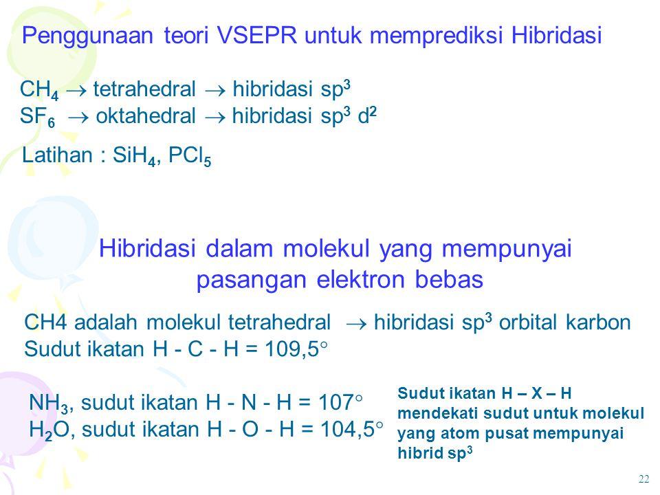 Penggunaan teori VSEPR untuk memprediksi Hibridasi CH 4  tetrahedral  hibridasi sp 3 SF 6  oktahedral  hibridasi sp 3 d 2 Latihan : SiH 4, PCl 5 H