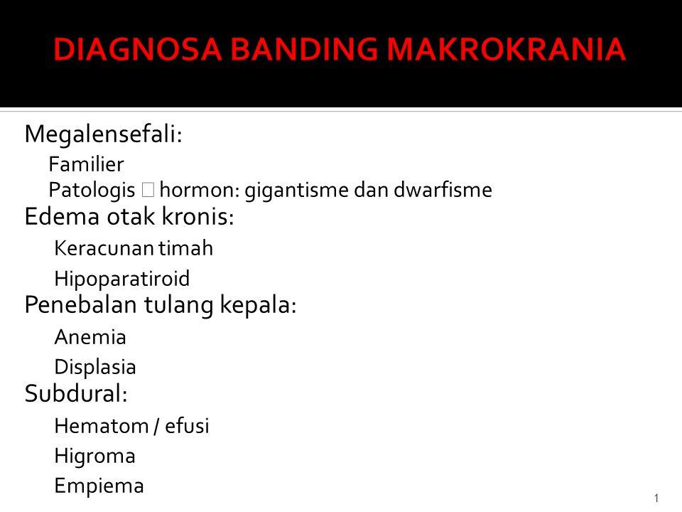 Megalensefali: Familier Patologis → hormon: gigantisme dan dwarfisme Edema otak kronis: Keracunan timah Hipoparatiroid Penebalan tulang kepala: Anemia Displasia Subdural: Hematom / efusi Higroma Empiema 1