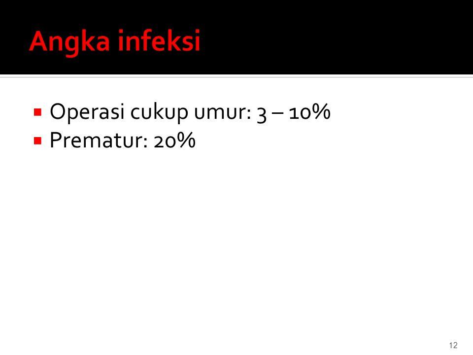  Operasi cukup umur: 3 – 10%  Prematur: 20% 12