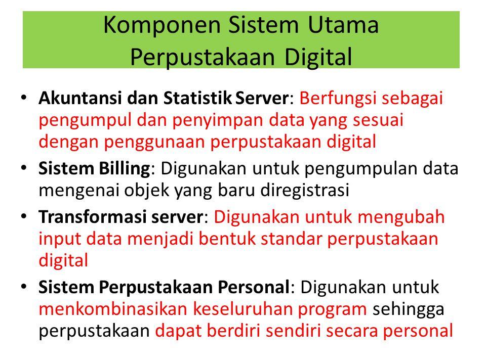 Komponen Sistem Utama Perpustakaan Digital Akuntansi dan Statistik Server: Berfungsi sebagai pengumpul dan penyimpan data yang sesuai dengan penggunaa