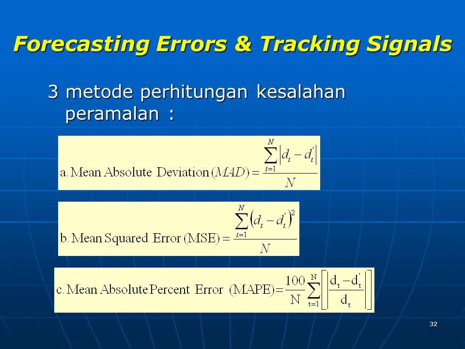 32 Forecasting Errors & Tracking Signals 3 metode perhitungan kesalahan peramalan :