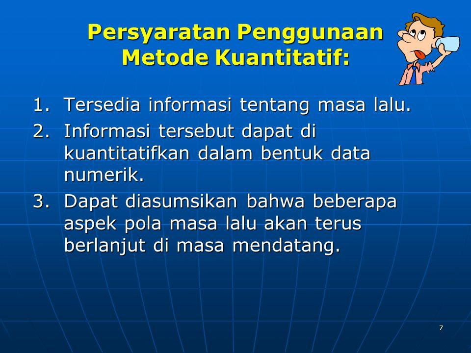 7 Persyaratan Penggunaan Metode Kuantitatif: 1.Tersedia informasi tentang masa lalu.