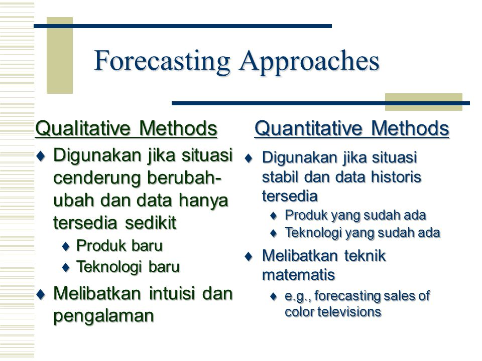 Forecasting Approaches  Digunakan jika situasi stabil dan data historis tersedia  Produk yang sudah ada  Teknologi yang sudah ada  Melibatkan tekn