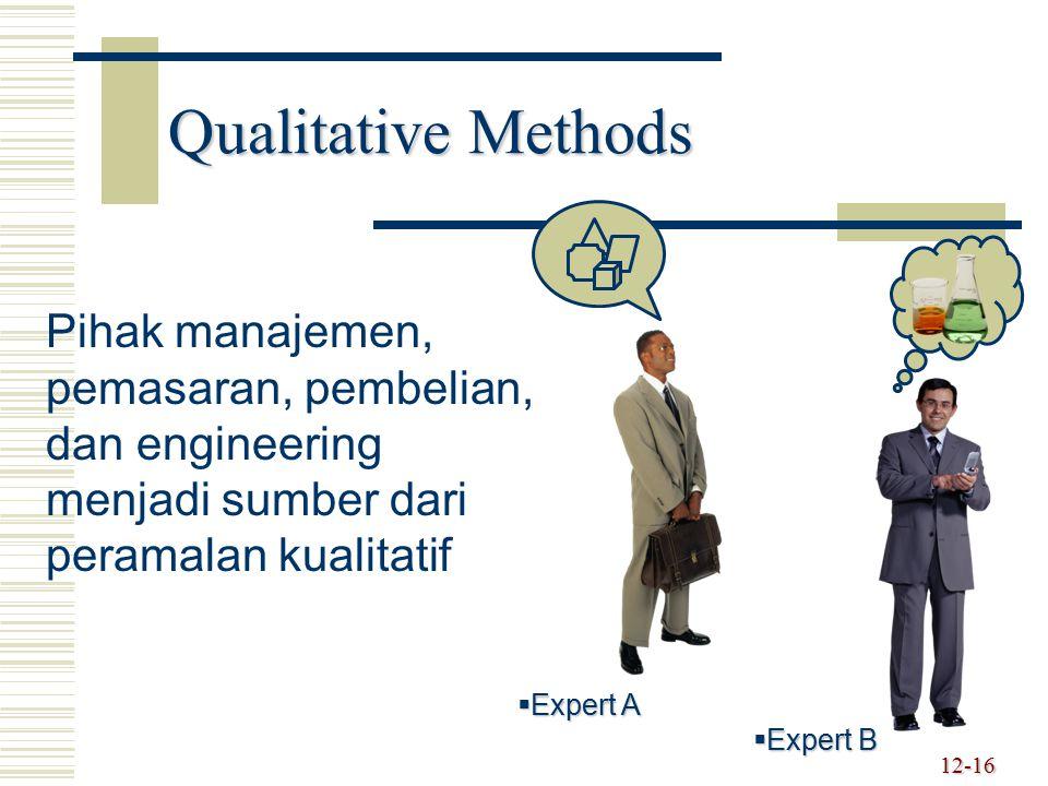 12-16  Expert A  Expert B Pihak manajemen, pemasaran, pembelian, dan engineering menjadi sumber dari peramalan kualitatif