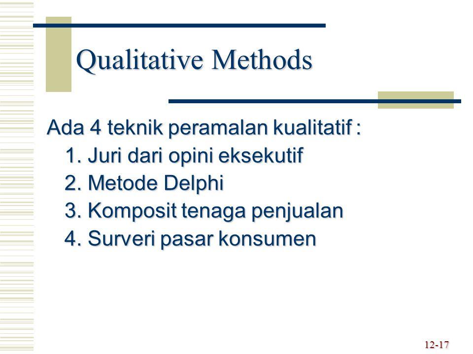 Qualitative Methods Ada 4 teknik peramalan kualitatif : 1. Juri dari opini eksekutif 2. Metode Delphi 3. Komposit tenaga penjualan 4. Surveri pasar ko