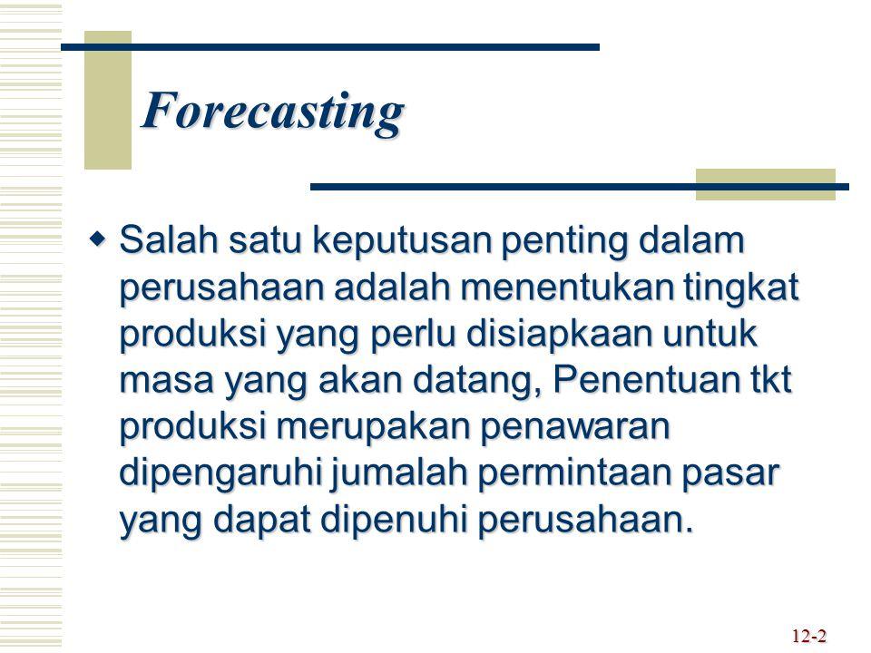 Forecasting  Salah satu keputusan penting dalam perusahaan adalah menentukan tingkat produksi yang perlu disiapkaan untuk masa yang akan datang, Pene