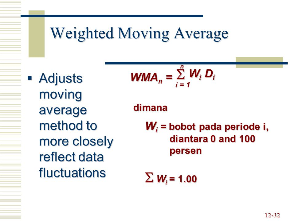 12-33 Weighted Moving Average Example MONTH WEIGHT DATA August 17%130 September 33%110 October 50%90 WMA 3 = 3 i = 1  Wi DiWi DiWi DiWi Di = (0.50)(90) + (0.33)(110) + (0.17)(130) = 103.4 orders November Forecast
