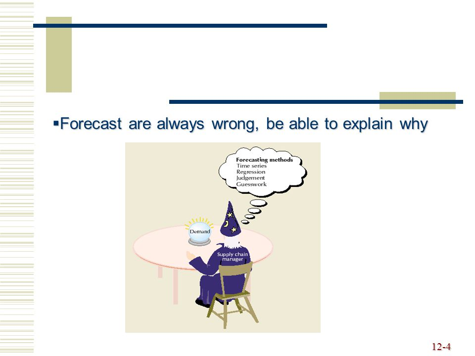 12-4  Forecast are always wrong, be able to explain why