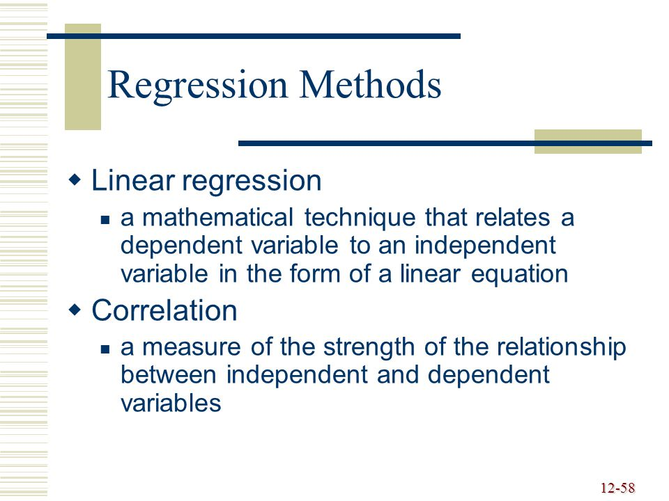 12-59 Linear Regression y = a + bx a = y - b x b = where a =intercept b =slope of the line x == mean of the x data y == mean of the y data  xy - nxy  x 2 - nx 2  x n  y n