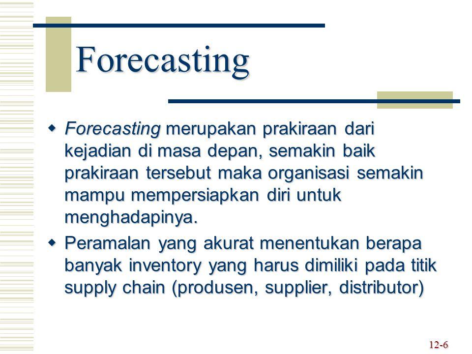 Forecasting  Forecasting merupakan prakiraan dari kejadian di masa depan, semakin baik prakiraan tersebut maka organisasi semakin mampu mempersiapkan