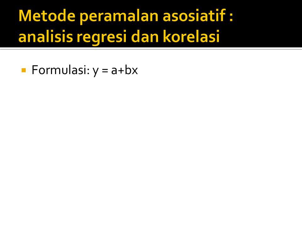  Formulasi: y = a+bx