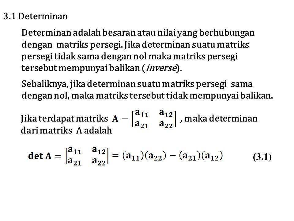 Tentukan determinan dari Penyelesaian Contoh 3.1 3.2 Sifat-sifat determinan i) Setiap matriks dan transposenya mempunyai determinan yang sama atau det A = det A T ii) Jika terdapat matriks A dan matriks B, maka berlaku det(AB)=det (A) det (B)
