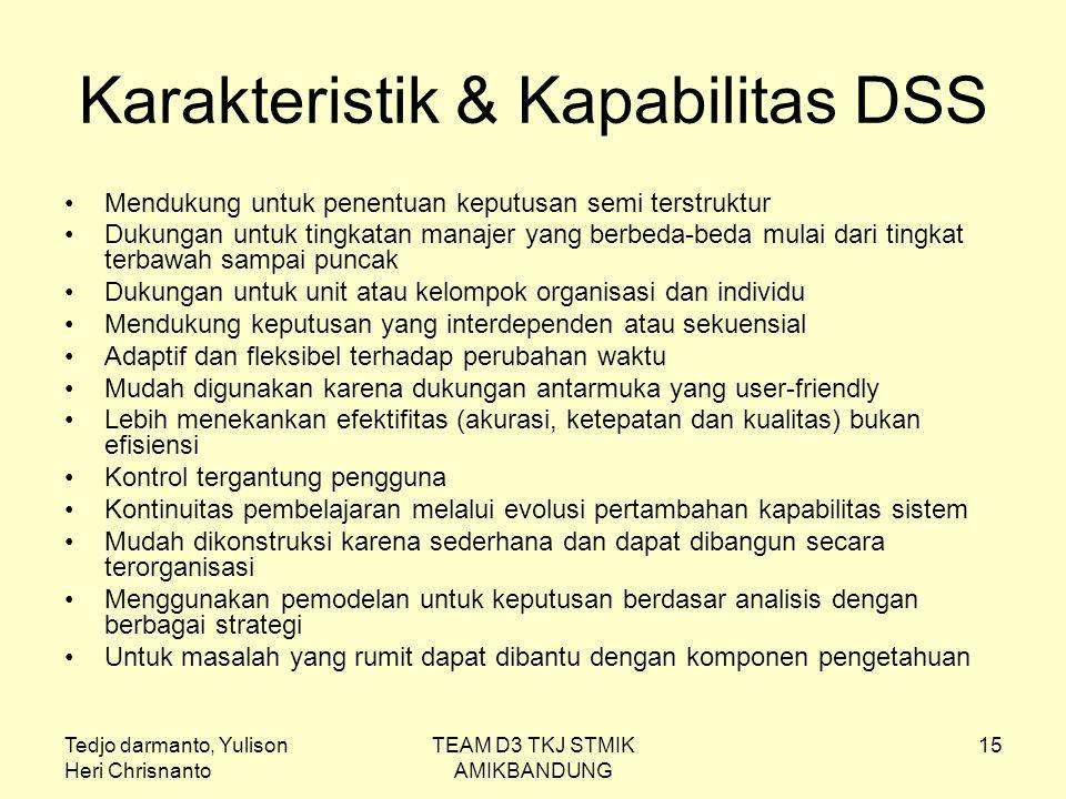 Tedjo darmanto, Yulison Heri Chrisnanto TEAM D3 TKJ STMIK AMIKBANDUNG 15 Karakteristik & Kapabilitas DSS Mendukung untuk penentuan keputusan semi ters