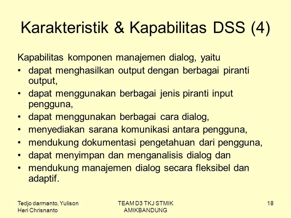 Tedjo darmanto, Yulison Heri Chrisnanto TEAM D3 TKJ STMIK AMIKBANDUNG 18 Karakteristik & Kapabilitas DSS (4) Kapabilitas komponen manajemen dialog, ya