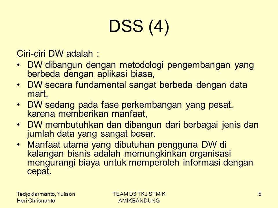 Tedjo darmanto, Yulison Heri Chrisnanto TEAM D3 TKJ STMIK AMIKBANDUNG 5 DSS (4) Ciri-ciri DW adalah : DW dibangun dengan metodologi pengembangan yang
