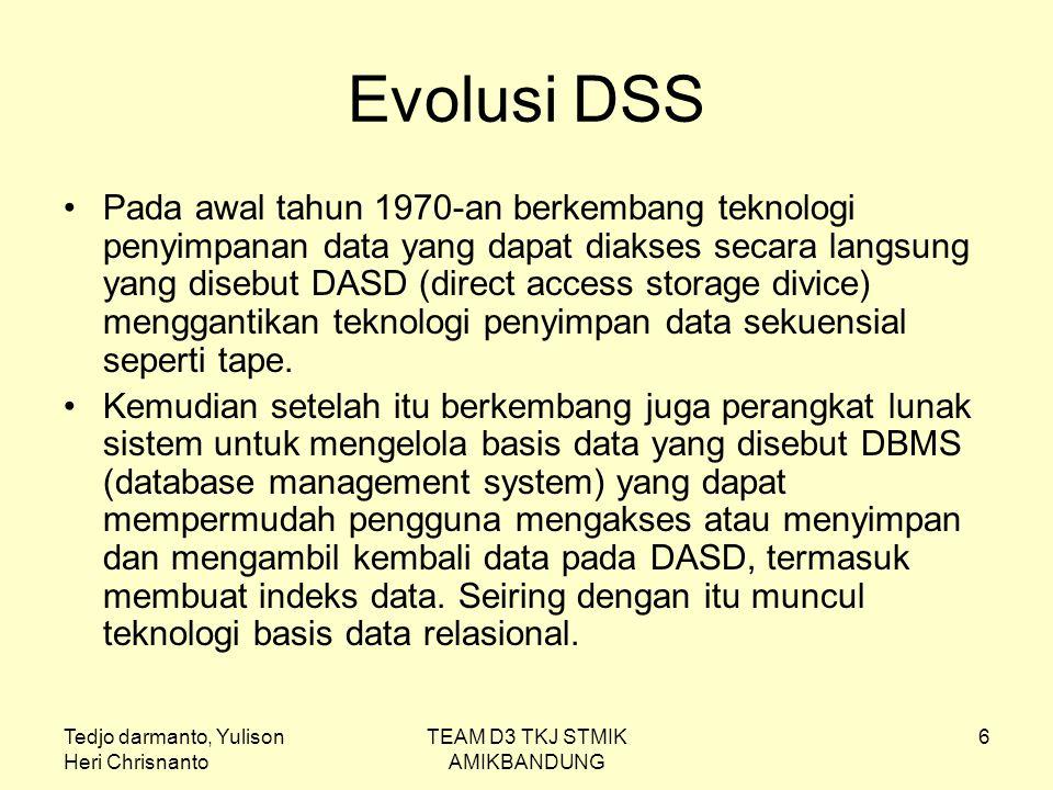 Tedjo darmanto, Yulison Heri Chrisnanto TEAM D3 TKJ STMIK AMIKBANDUNG 7 Evolusi DSS (2) Setelah itu pada pertengahan tahun 1970-an berkembang teknologi pengolahan transaksi secara online (OLTP) yang dapat mempercepat akses data dan memicu aplikasi sistem reservasi, sistem teler bank dan sistem kontrol manufaktur dll Pada awal tahun 1980-an muncul teknologi baru di bidang perangkat keras seperti PC (microchip) dan perangkat lunak seperti bahasa pemrograman generasi ke-4 (4GL).