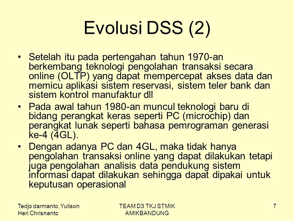 Tedjo darmanto, Yulison Heri Chrisnanto TEAM D3 TKJ STMIK AMIKBANDUNG 8 Evolusi DSS (3) Arsitektur DSS berevolusi untuk menghadapi tantangan seperti masalah kredibilitas data, produktifitas dan masalah transformasi data menjadi informasi.