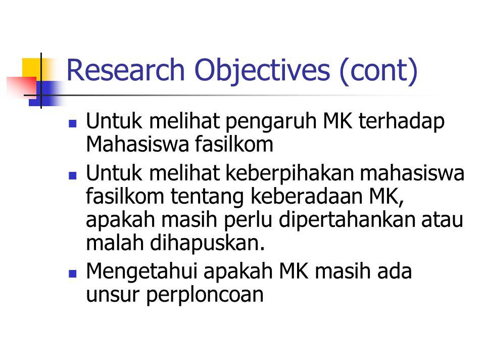 Research Objectives (cont) Untuk melihat pengaruh MK terhadap Mahasiswa fasilkom Untuk melihat keberpihakan mahasiswa fasilkom tentang keberadaan MK, apakah masih perlu dipertahankan atau malah dihapuskan.