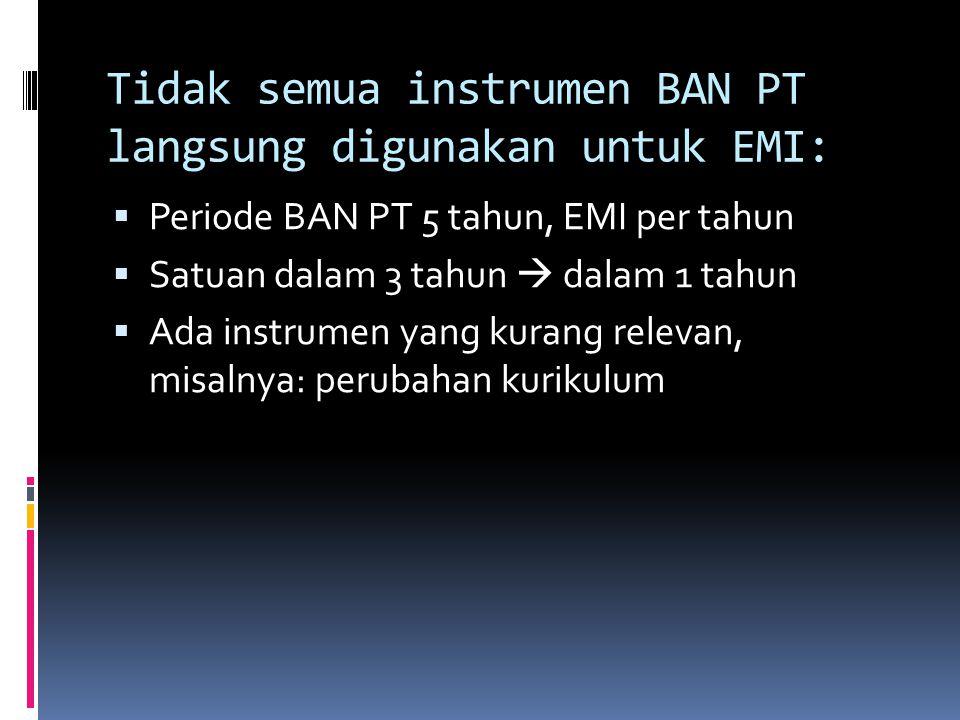 Tidak semua instrumen BAN PT langsung digunakan untuk EMI:  Periode BAN PT 5 tahun, EMI per tahun  Satuan dalam 3 tahun  dalam 1 tahun  Ada instrumen yang kurang relevan, misalnya: perubahan kurikulum