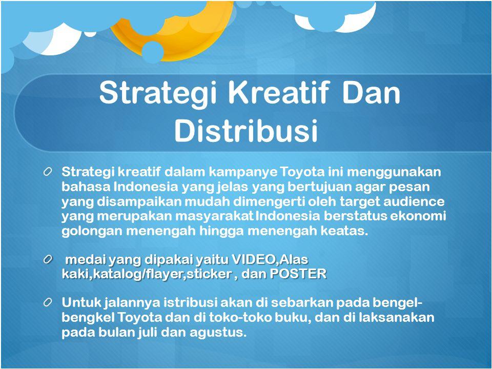Strategi Kreatif Dan Distribusi Strategi kreatif dalam kampanye Toyota ini menggunakan bahasa Indonesia yang jelas yang bertujuan agar pesan yang disa