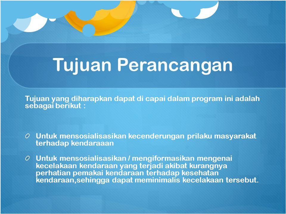 Tujuan Perancangan Tujuan yang diharapkan dapat di capai dalam program ini adalah sebagai berikut : Untuk mensosialisasikan kecenderungan prilaku masy