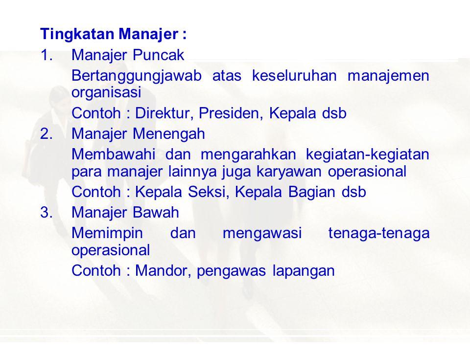 MANAJEMEN DAN MANAJER MANAJER  setiap orang yang mempunyai tanggung jawab atas bawahan dan sumberdaya-sumberdaya organisasi lainnya Manajer diklasifi