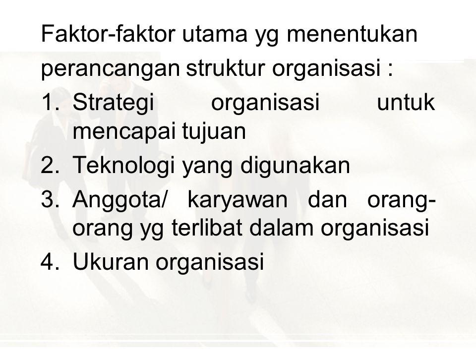 STRUKTUR ORGANISASI Pengertian : Struktur organisasi (desain organisasi):  mekanisme formal dengan mana organisasi dikelola.  menunjukkan kerangka d