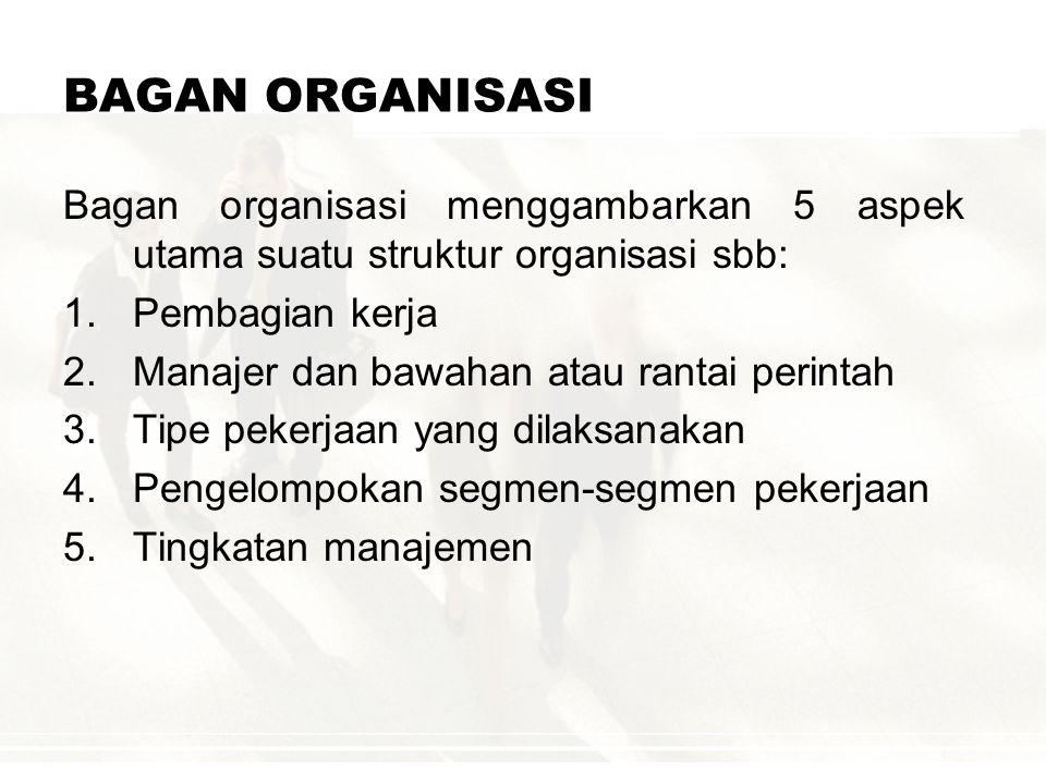 Unsur-unsur struktur organisasi : 1.Spesialisasi pekerjaan 2.Standardisasi kegiatan 3.Koordinasi kegiatan 4.Sentralisasi dan desentralisasi 5.Ukuran s