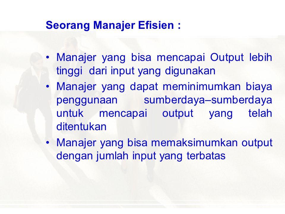 Efisiensi Adalah kemampuan untuk menyelesaikan suatu pekerjaan dengan benar Derajat atau tingkat pengorbanan dari suatu kegiatan yang dilakukan untuk