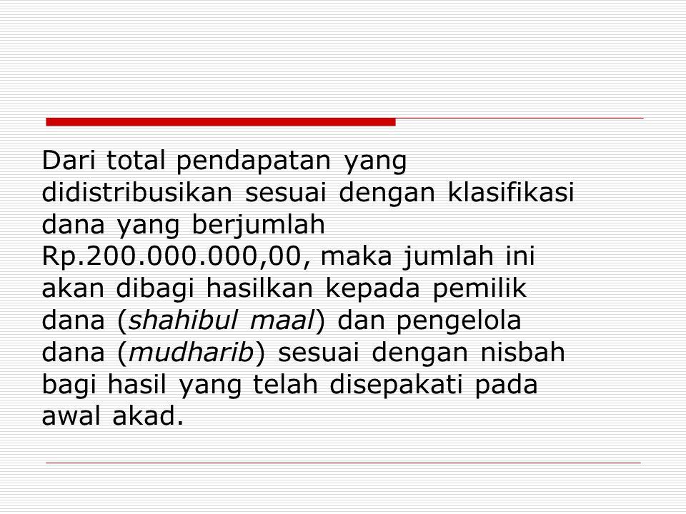 Dari total pendapatan yang didistribusikan sesuai dengan klasifikasi dana yang berjumlah Rp.200.000.000,00, maka jumlah ini akan dibagi hasilkan kepada pemilik dana (shahibul maal) dan pengelola dana (mudharib) sesuai dengan nisbah bagi hasil yang telah disepakati pada awal akad.