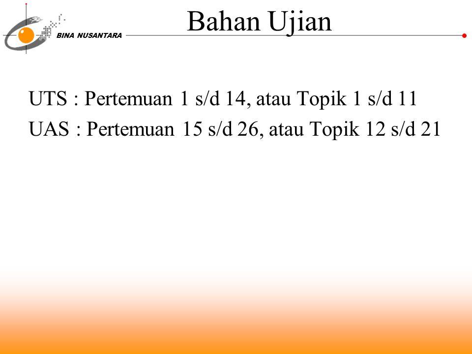 BINA NUSANTARA Bahan Ujian UTS : Pertemuan 1 s/d 14, atau Topik 1 s/d 11 UAS : Pertemuan 15 s/d 26, atau Topik 12 s/d 21