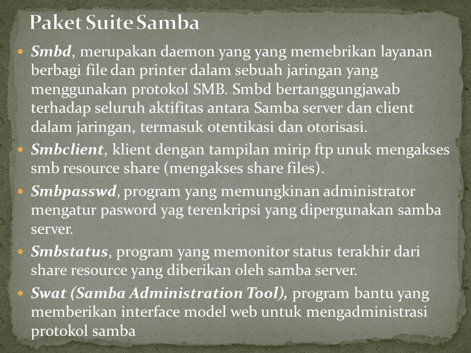 Install package samba dengan perintah # sudo apt-get install samba Setelah terinstal, selanjutnya adalah melakukan konfigurasi pada file smb.conf yang berada di folder /etc/samba/smb.conf dengan perintah.