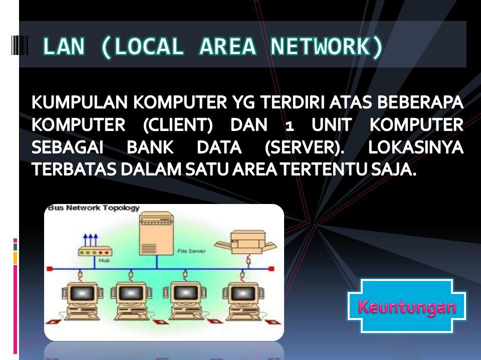  File sharing mudah dilakukan  Printer sharing  File2 data dpt disimpan pada server dan semua komputer client dpt mengaksesnya.