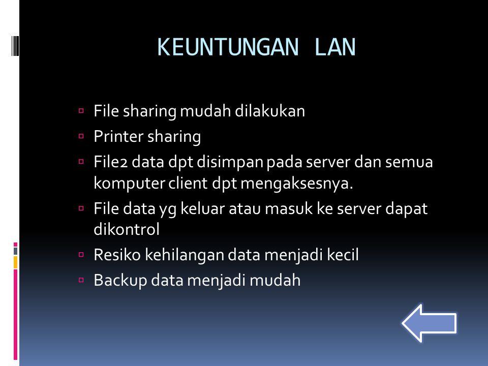  File sharing mudah dilakukan  Printer sharing  File2 data dpt disimpan pada server dan semua komputer client dpt mengaksesnya.  File data yg kelu