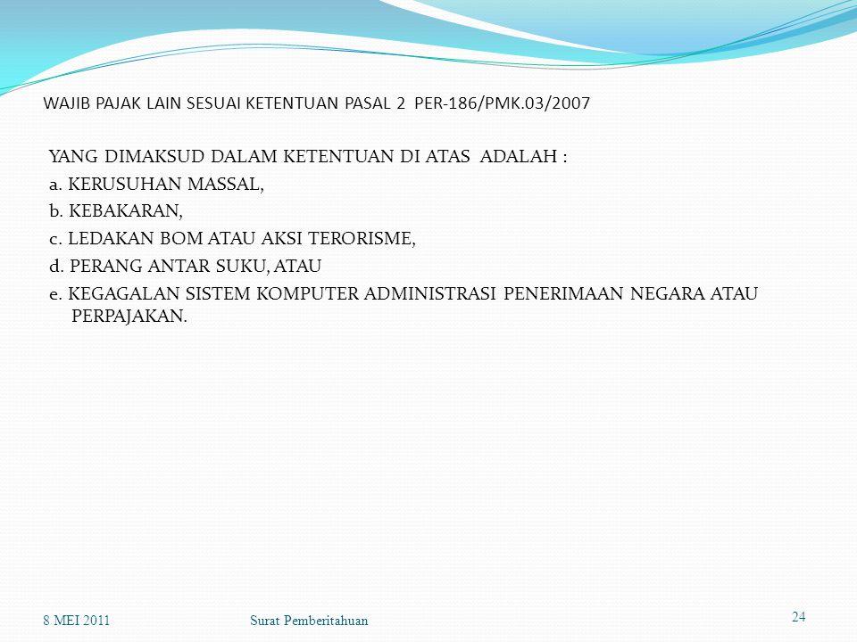 WAJIB PAJAK LAIN SESUAI KETENTUAN PASAL 2 PER-186/PMK.03/2007 YANG DIMAKSUD DALAM KETENTUAN DI ATAS ADALAH : a.